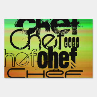 Chef; Vibrant Green, Orange, & Yellow Sign
