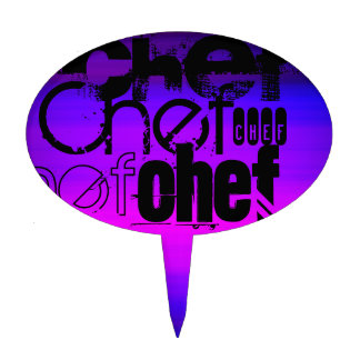 Chef; Vibrant Violet Blue and Magenta Cake Picks