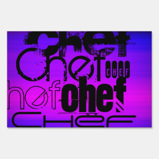 Chef; Vibrant Violet Blue and Magenta Lawn Sign