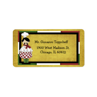 Chef Wearing Red Checkered Apron Address Label