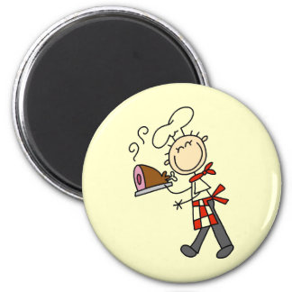 Chef With Baked Ham 2 Inch Round Magnet