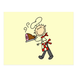 Chef With Baked Ham Postcard