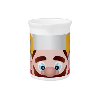 Chef with Banner Illustration Drink Pitcher