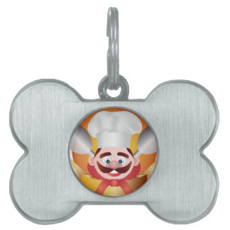 Chef with Banner Illustration Pet ID Tag