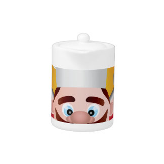Chef with Banner Illustration Teapot