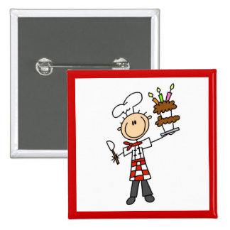 Chef With Birthday Cake Button