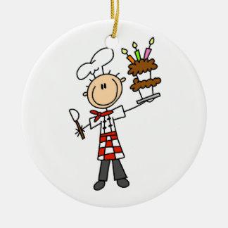 Chef With Birthday Cake Ceramic Ornament