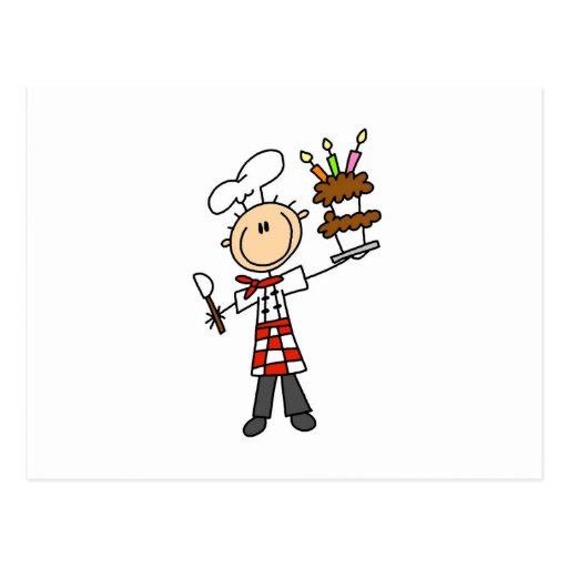 Chef With Birthday Cake Postcard