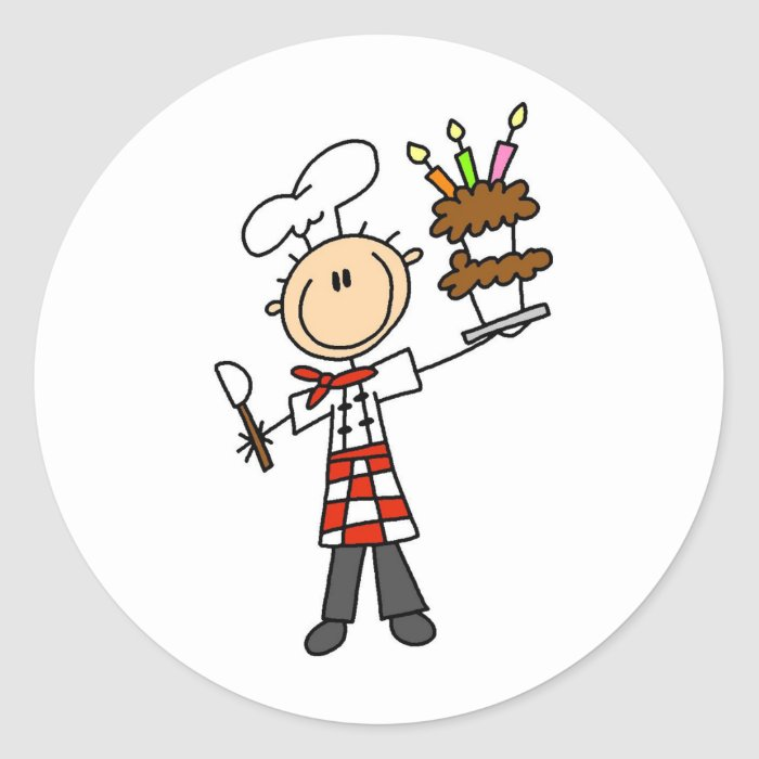 Chef with BIrthday Cake Stickers