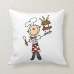 Chef With Birthday Cake Throw Pillow