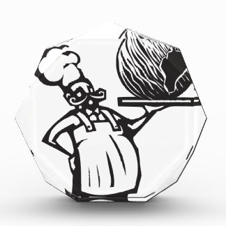 Chef with Birthday earth and candle Award