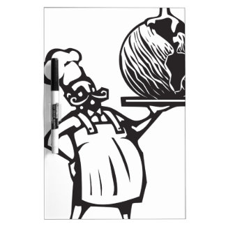Chef with Birthday earth and candle Dry Erase Board