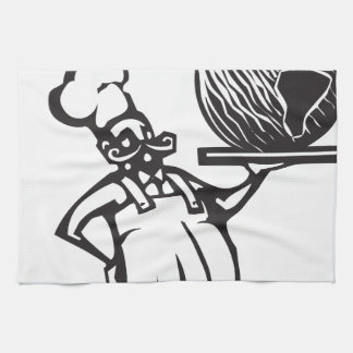 Chef with Birthday earth and candle Kitchen Towel