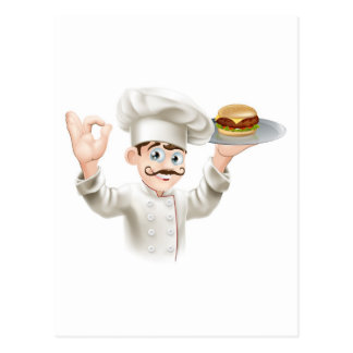 Chef with burger postcards