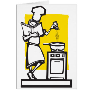 Chef with cookbook greeting cards