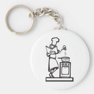 Chef with cookbook basic round button keychain