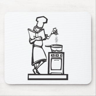 Chef with cookbook mouse pads