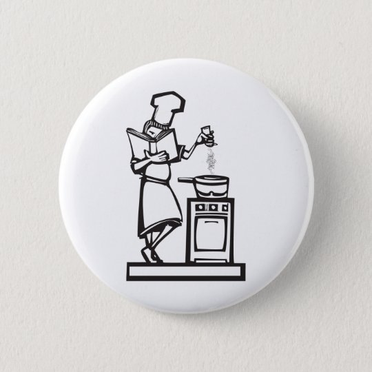 Chef with cookbook pinback button