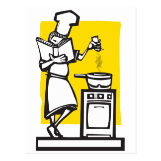 Chef with cookbook post card