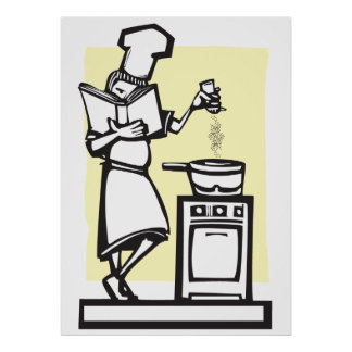 Chef with cookbook print