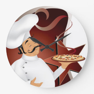 chef with pizza wallclock