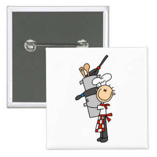Chef With Pots and Pans Pinback Buttons