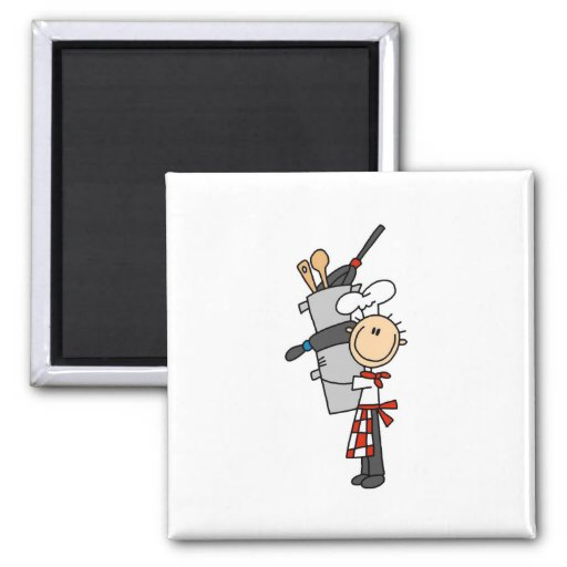 Chef with Pots and Pans Magnets Fridge Magnet