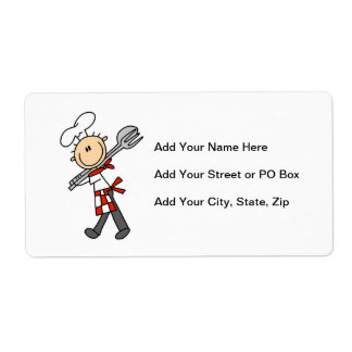 Chef With Salad Tongs Personalized Shipping Labels