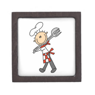 Chef With Salad Tongs Premium Trinket Boxes