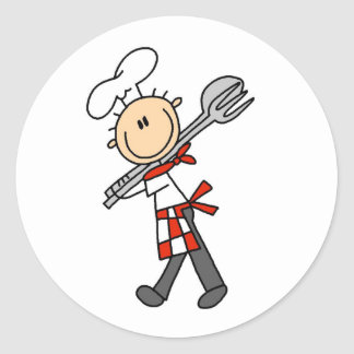 Chef with Salad Tongs StickersS Classic Round Sticker
