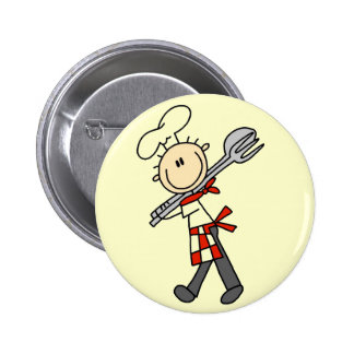 Chef with Salad Tongs Tshirts and Gifts Button