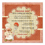 Chef with Spaghetti and Meatball Pasta Party Card