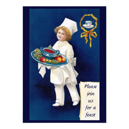 Chef with Tureen of Soup and Fruit Thanksgiving Personalized Invitations