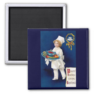 Chef with Tureen of Soup and Fruit Thanksgiving Magnet