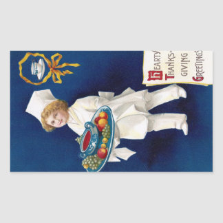 Chef with Tureen of Soup and Fruit Thanksgiving Rectangular Sticker