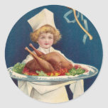 Chef with Turkey on Platter and Wishbone Classic Round Sticker
