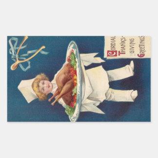 Chef with Turkey on Platter and Wishbone Rectangular Sticker