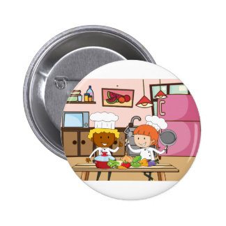 Chef working in the kitchen pinback button