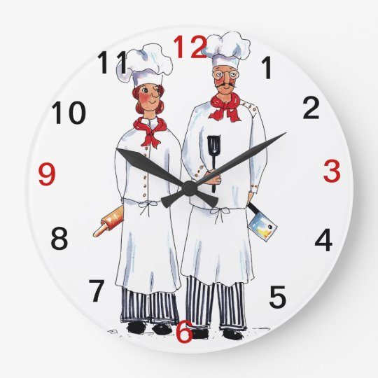 Chefs and knifes wall clock