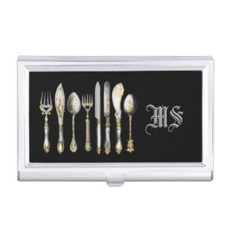 Chefs catering business cutlery business card holder