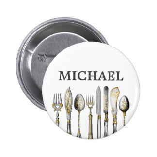 Chefs catering business cutlery pinback button