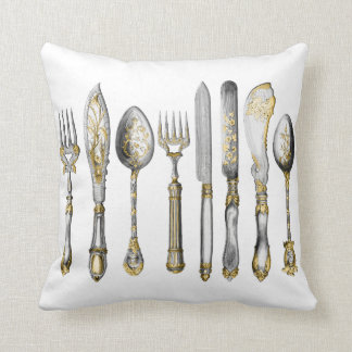 chefs catering cutlery business throw pillow