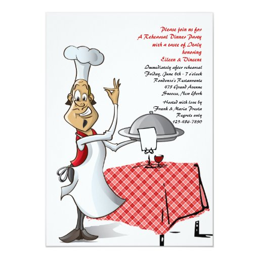Chefs Choice Wedding Rehearsal Dinner Invitation | Zazzle