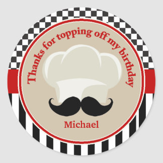 Chefs Hat and Moustache Thank You Sticker