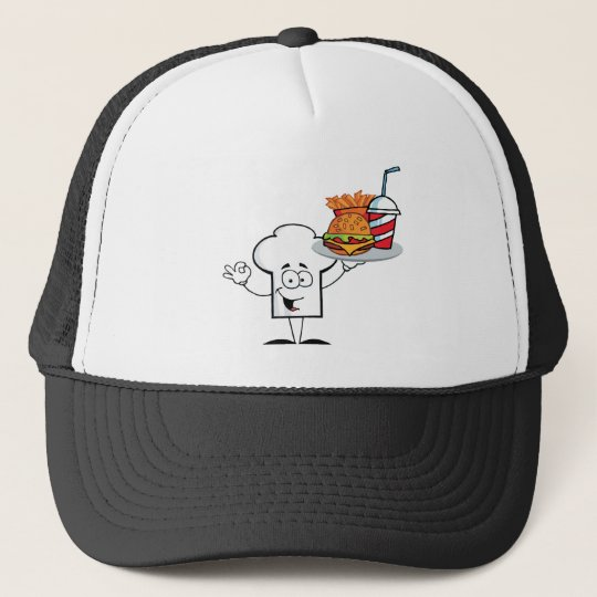 Chefs Hat Character Holder Plate Of Hamburger