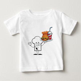 Chefs Hat Character Holder Plate Of Hamburger Baby T-Shirt
