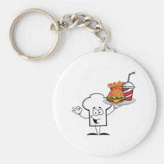 Chefs Hat Character Holder Plate Of Hamburger Keychain