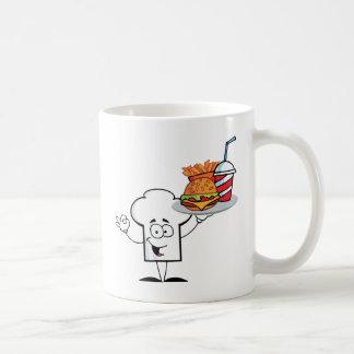 Chefs Hat Character Holder Plate Of Hamburger Mugs