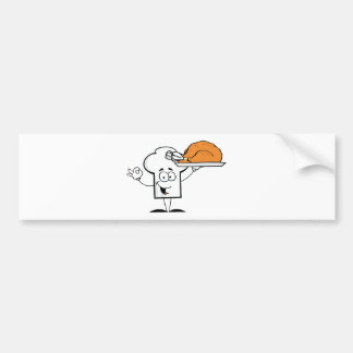 Chefs Hat Character Holder Plate With Turkey Car Bumper Sticker
