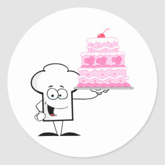 Chefs Hat Character Holding Up A Beautifully Cake Classic Round Sticker